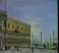 venetian views: san marco and the campanile... [&] the piazzetta looking towards san giorgio maggiore by adolphe bagot